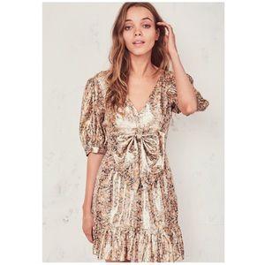 NWT LoveShackFancy Lena Dress in Metallic Cinnamon